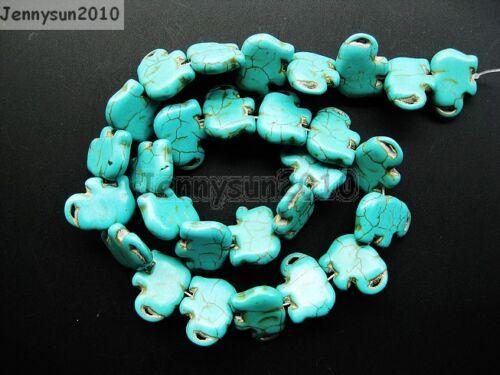 Blue Howlite Turquoise Gemstone Side Ways Flat Elephant Loose Beads 16/'/'