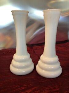 Vintage-Randall-Banded-White-Milk-Glass-Bud-Vases-Set-of-Two-6-034-Tall-3-Rings