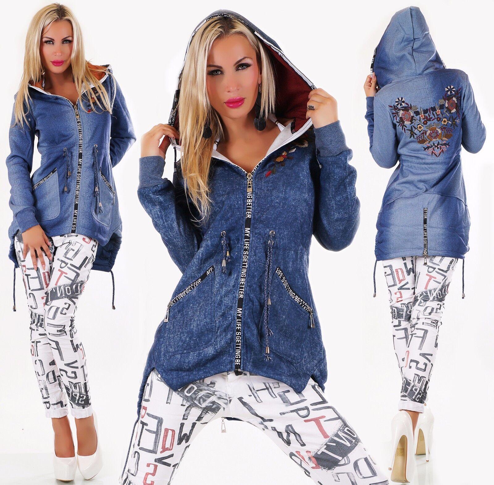 Sexy Softshell Giacca Lunga Cappotto Jeans Stampa Ricamo Cappuccio S M L XL XXL