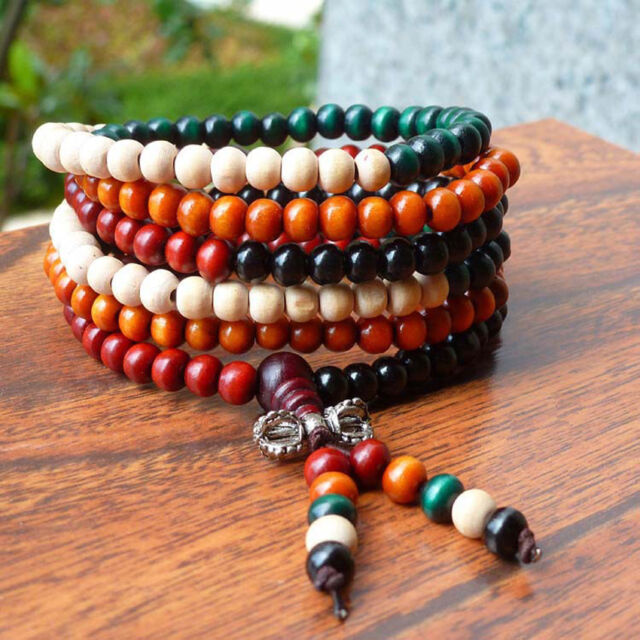 216pcs Genuine Opening Sandalwood Colored Prayer Beads Bracelet Necklace