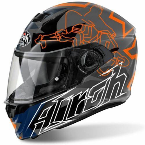 Airoh Storm Bionikle Casco Integrale Moto Arancio Lucido Moto Coperchio Nuovo