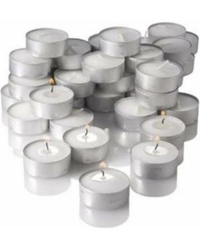 Unscented White Tealight Candles Plastic Cup MADE IN USA #60700 8 pack NIB