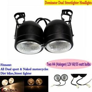 Dominator-Round-Headlight-Twins-Headlamp-w-Bracket-For-Streetfighter-Motorcycle
