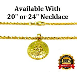 18k-Yellow-Gold-Link-20-034-24-034-30-034-Chain-Womens-Mens-Necklace-St-Christopher-Pend