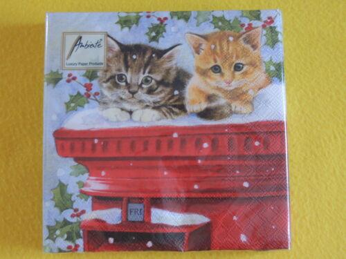 20 servilletas postmasters gatos navidad buzón rojo getigert Cats 1 PAC
