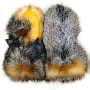 eacba96d2e9 Image is loading Glacier-Wear-Crystal-Dyed-Silver-Fox-Fur-Gauntlet-