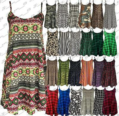 Ladies Printed Long Camisole Strappy Swing Dress Vest Skater Flared Sleeveless