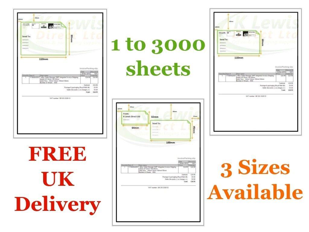 1000x 1000  verkaufsmanager pro A4 Papier Integriert Abziehen Etikett 110x80