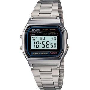 CASIO-hombre-mujer-Reloj-pulsera-A158WA-1DF-nuevo-original-Garantia-Chrono-acero