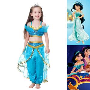Aladdin-Princess-Jasmine-Dress-Up-Girls-Kids-Party-Ball-Fancy-Costume-2pcs-Set