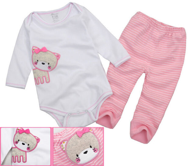 New Pink 2pcs Baby Girl Infant Clothes Sweet Cat Romper Top+ Striped Pants 6-18M