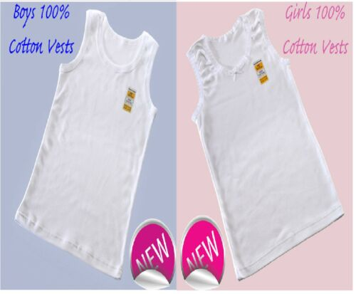 6// 12  Girls And Boys 100/% SOFT COTTON VESTS 2 3 4 5 6 7 8 9 10 11 12 13 YRS 3