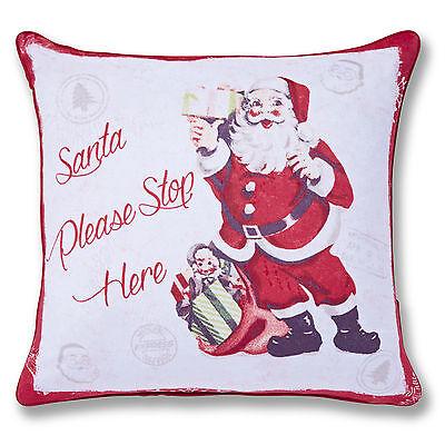 Catherine Lansfield Designer Christmas Retro Santa Red 43x43cm Cushion Cover