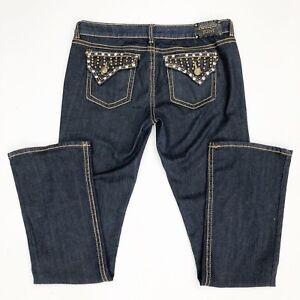 Antique-Rivet-Women-s-Sz-32-Jeans-Boot-Cut-Crystal-Embellished-Bling-Dark-Wash