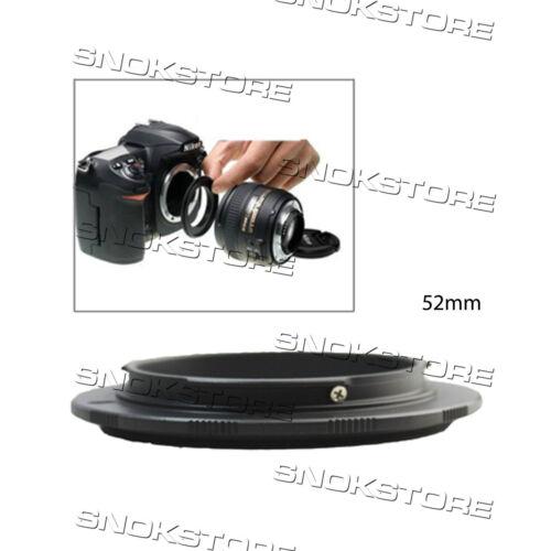 52mm REVERSING RING FOR NIKON CAMERA BLACK ANELLO INVERSIONE MACRO DSLR NUOVO