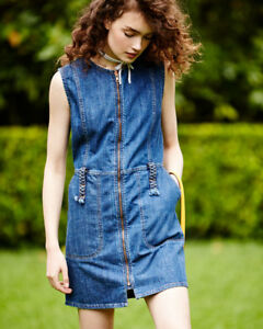 See By Chloe Jewel Neck Zip Front Denim Dress Size 12 Us 16 Uk Large 385 New 138610200050 Ebay
