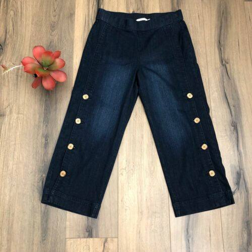 Soft Surroundings Small Side Button Denim Jeans Cr