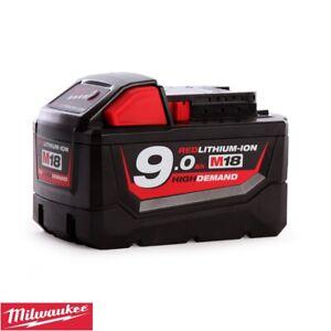 Milwaukee-Genuino-M18B9-9-0Ah-18V-Bateria-de-iones-de-litio-de-alta-demanda-Rojo