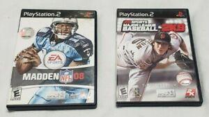 PS2 Madden NFL 2008 & MLB 2K9 (2 Game Lot)