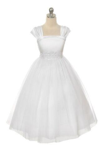 Classic Flower Girl WHITE Cap Sleeved Beaded Dress First Holy Communion Wedding