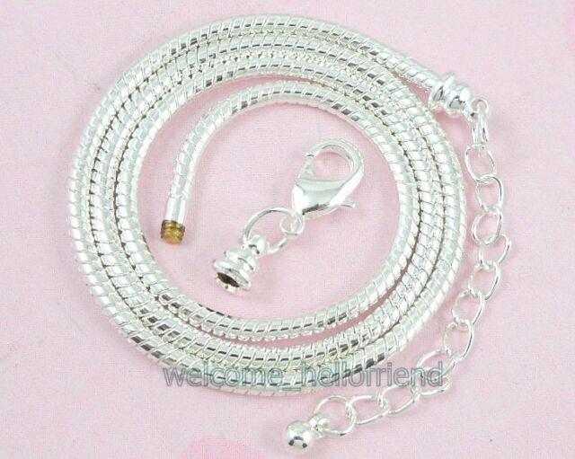 5pcs Silver Snake Necklaces Fit European Charms Beads 45cm P12