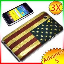 2X Pellicola+ Custodia BANDIERA VINTAGE USA per Samsung Galaxy S Advance i9070