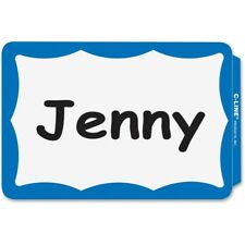 100 Name Badge Peel Amp Stick Blue Border Tags Labels Sticker Adhesive Id