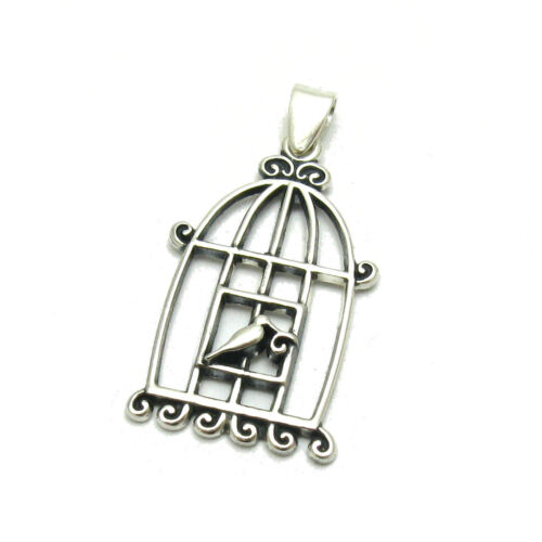 STERLING SILVER PENDANT BIRD IN CAGE SOLID 925 PE001149 EMPRESS