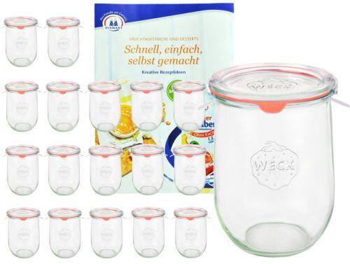 18 Weck Gläser 1062ml Tulpenglas 1L Sturzglas Deckel Gummi Klammer Einmachglas
