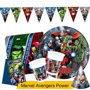 Marvel-AVENGERS-POWER-Birthday-Party-Range-Tableware-amp-Decorations-Procos