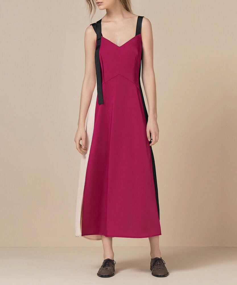 Finery-bnwt-hilgrove Satin Look Contraste Panneau Slip Robe Rose-taille 8