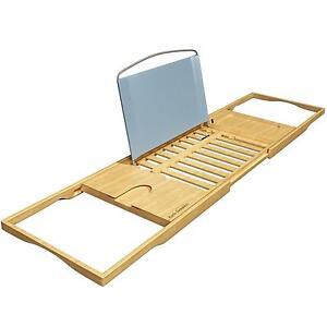 Bath Dreams Luxury Bamboo Bathtub Caddy Tray Extending Sides Wine Rack  Holder 1
