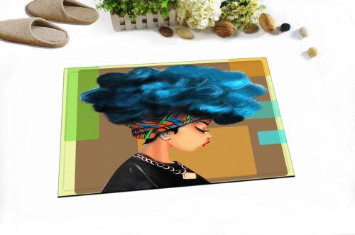 African Girl Blue Black Hair Afro Hairstyle Fabric Shower Curtain Set Bathroom