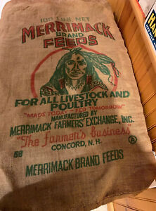 Antique-Merrimack-NH-Feeds-100-LB-Bag-Sack-Livestock-Poultry-Burlap-Indian-Ad
