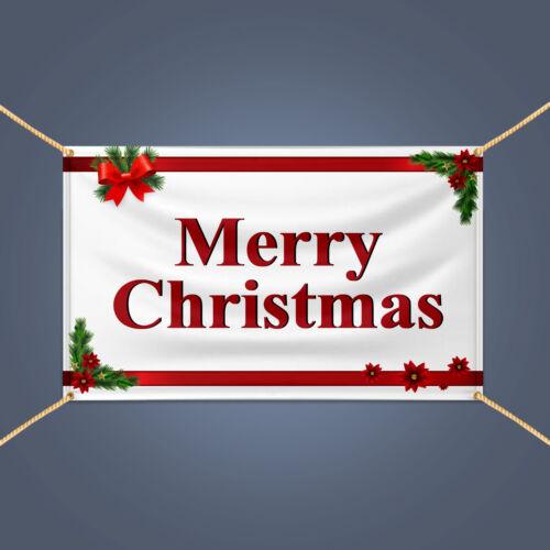 Outdoor Holiday Season Party Decor Vinyl Sign MERRY CHRISTMAS Banner 3/' X 2/'