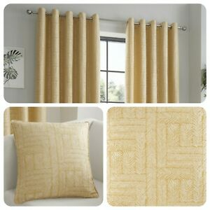 Curtina-LOWE-Ochre-Yellow-Jacquard-Curtains-and-Cushions
