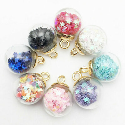 8Pcs For DIY Jewelry Making Accessories Pendant Lovely Star Beads Glass Ball