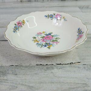 Vintage-Canonsburg-Pottery-Keystone-Indian-Rose-Floral-Serving-Bowl-USA-HTF