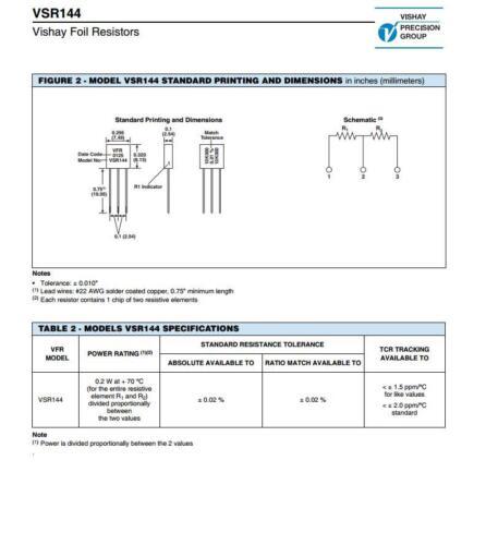 1X 301765 10K000//10K000 0.01/% VISHAY Precision Voltage Divider Resistors