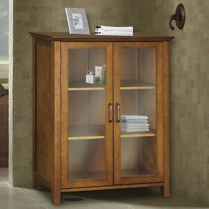 34 bathroom linen tower floor storage cabinet kitchen 2 glass door wood oil oak ebay for Oak linen cabinet for bathrooms