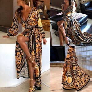 Boheme-Robe-Longue-Femmes-Sexy-Col-V-Plage-Ete-Floral-Imprime-Robe-Maxi-Dress