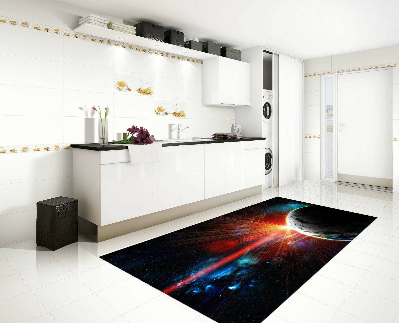 3D Planet Sunbeam Kitchen Mat Floor Murals Wall Print Wall Deco AJ WALLPAPER CA