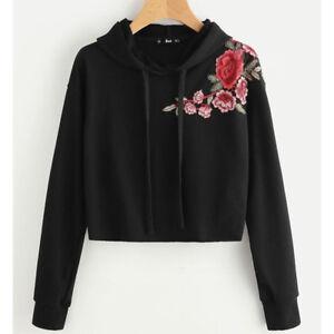 d722e7f4ba888e Women Rose Sweatshirt Jumper Sweater Crop Top Sport Pullover Hoodie ...