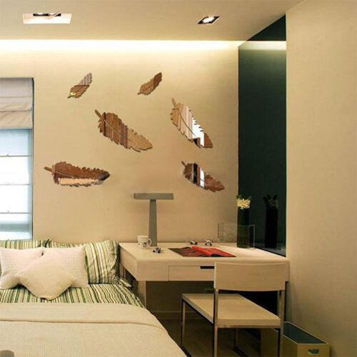 8452 Kreativ  Feather Designed 3D Mirror Schlafzimmer Wohnzimmer Home Decor