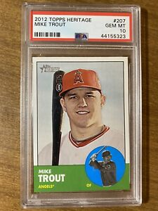 2012-TOPPS-HERITAGE-207-MIKE-TROUT-RC-ANGELS-ROOKIE-CARD-PSA-10-GEM-MINT-HOF
