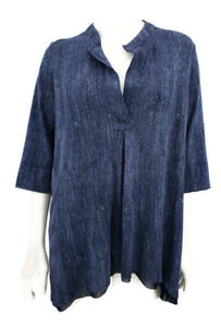 Fuzzi-Blouse-Womens-XS-Blue-Long-Sleeve-Pullover-Layered-Top-Made-in-Italy