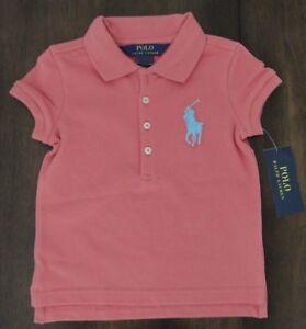 NWT Ralph Lauren Girls S//S Long Placket Big Pony Mesh Polo Shirt 2t 3t NEW $40