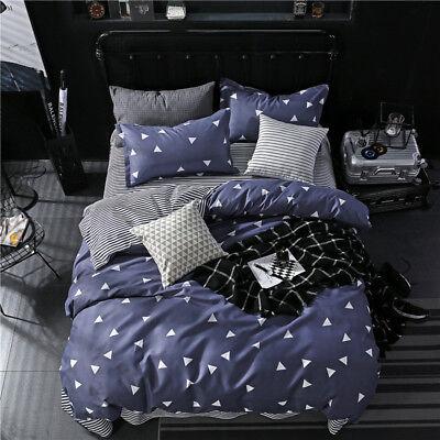 White Triangles Print Gray Duvet Covers Sets King Queen Full Geometric Beddings