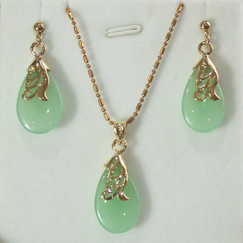 Fashion Jewelry jade Pendant necklace earring set +free chain