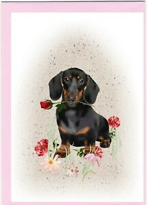 Dachshund-Smoothaired-Dog-4-034-x-6-034-Blank-Card-ideal-Mothers-Day-Valentines-etc